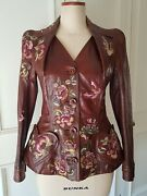 Christian Dior Sz 36 38 Floral Embroidered Embroidery Brown Leather Jacket Coat
