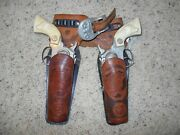 1950and039s Hubley Die Cast Cap Gun And Leather Holster Set