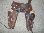 1950and039s Daisy Die Cast Cap Gun And Leather Holster Set