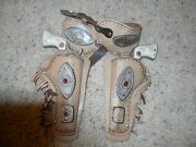 1950and039s Hubley Western Die Cast Cap Gun And Leather Holster Set