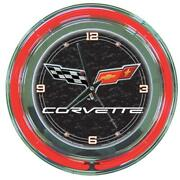 Wall Clock 14 In Mechanical Corvette C6 Neon Round Face Glass Frame Metal Black