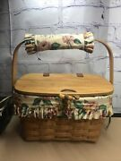 1999 Longaberger Small Purse Basket With Hinged Lid Liner And Swivel Handle Ajs