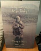 Beautiful Vintage Abbey And Imbrie New York Sign Fly Fishing W Great Graphics Usa