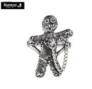 Whoa Pewter Voodoo Doll Ring / Weird Doll Ring With Pin Alchemy Gothic 77