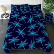 Black Blue Insect Dragonfly King Queen Twin Quilt Duvet Pillow Cover Bed Set