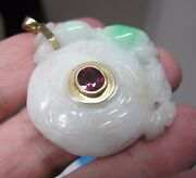 Chinese Carved White Mutton Fat Jade Burma Ruby 14k 585 Necklace Pendant