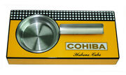 Cohiba Single Cigar Square Wooden Ashtray High Gloss Yellow Stainless Steel 39b