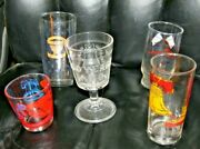 Vintage 5 Usa America Bicentennial Collector's Drinking Glasses All Different
