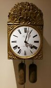 Antique 1870and039s Bertholat St. Etienne French Morbier Victorian Wag On Wall Clock