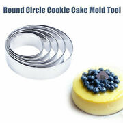 5pcs Stainless Steel Round Cookie Biscuit Cake Pastry Cutter Baking Molds Tools-