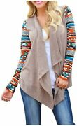 Aunttaylor Womens Cardigans Solid High Low Long Sleeve Boho Open Front Blouses C