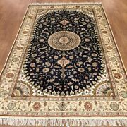 Yilong 5and039x8and039 Handknotted Silk Carpet Blue Medallion Oriental Floral Rug Wy372c