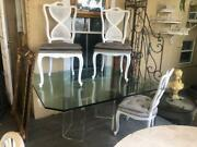 Mid Century Modern Lucite Dining Table 6 Dining Chairs Fabric Seats Wicker Back