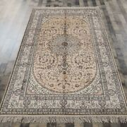 Yilong 5and039x8and039 Yellow Handknotted Silk Rug Kid Friendly Living Room Carpet Y82b