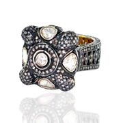 Vintage Look Ring 5.0ct Diamond 18kt Gold 925 Sterling Silver Women Gift Jewelry