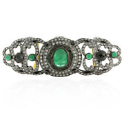 18 Kt Gold 925 Sterling Silver 4.16 Ct Diamond Emerald Knuckle Ring Gift Jewelry