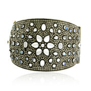 15.9ct Moonstone Pave Diamond 14kt Gold 925 Sterling Silver Women Bangle Jewelry