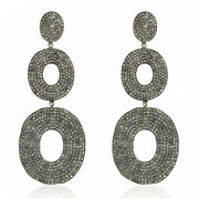 11.48ct Pave Diamond Gold Sterling Silver Dangle Earrings Vintage Look Jewelry