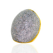 18kt Solid Yellow Gold 6.46ct Pave Diamond Dome Ring 925 Sterling Silver Jewelry
