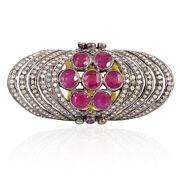 Genuine Ruby 1.85ct Pave Diamond Sterling Silver Antique Kunckle Ring Size 7