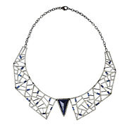 16ct Sapphire Collar Gold Necklace Pave Diamond 925 Sterling Silver Jewelry