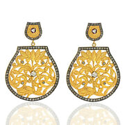 3.75ct Pave Diamond 14k Gold Designer Dangle Earrings Sterling Silver Jewelry