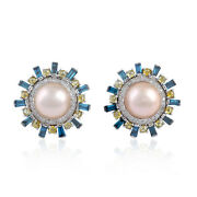 10.5ct Natural Pearl Diamond Stud Earrings 18k Solid Gold Fashion Jewelry