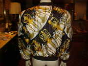 Vintage Mens 100 Poly Lined Jacket With Zipper Antique Swords Are The Theme Med