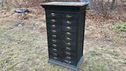 Antique Apothecary Cabinet Country Store Studio File Card Catalog Black Wood
