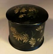 Antique Victorian Black Tole Painted Floral Treenware String Holder