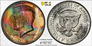 Ms65 1964 50c Kennedy Silver Half Dollar, Pcgs Secure- Monster Rainbow Eor Toned