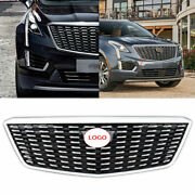 For Cadillac Xt5 2016-2020 Silver Front Center Mesh Grille Grill Cover Trim 1pcs