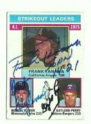 Bert Blyleven Frank Tanana, Gaylord Perry 1976 Topps Autographed Card