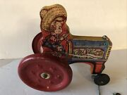 Vintage Gong Bell Mfg. Co. Pull Toy Boy On Tractor Paper Litho On Wood