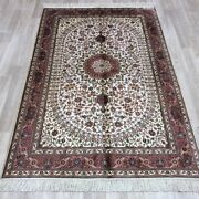 Yilong 4and039x6and039 Handknotted Silk Carpet Home Interior Living Room Pink Rug 051b