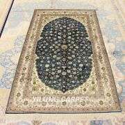 Yilong 3.5and039x6and039 Blue Handmade Silk Area Rugs Traditional Floral Carpet 201a