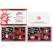 2004 S Proof Set Original Box And Coa 11 Coins 90 Silver Quarters Kennedy Us Mint