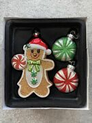 2011 Radko Gingerbread Man And Two Candy Handcrafted Glass Christmas Ornaments Nib