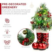 Best Choice Products 40in Santa Boots With Pre-decorated Christmas Tree Greenery