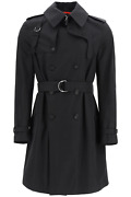 New Alexander Mcqueen Double-breasted Cotton Trench Coat 615573 Qqs44 Black Auth