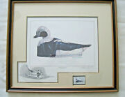 1980 Mass Duck Stamp Print - Framed - Old Squaw Duck Decoy With Pencil Remarque