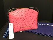 Dooney And Bourke Hot Pink Ostrich Crossbody Shoulder Bag Purse New With Tags