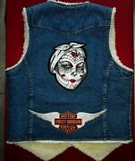 Womenand039s Medium Pre-owned Sherpa Jean Vest Harley Davidson Patches