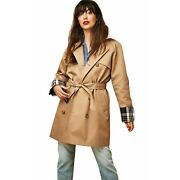 Court And Rowe Nwt Size Xl Khaki Plaid Lined Double Breasted Trench Coat Msrp 299