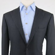 12495 Kiton 13.5 Micron Super 200and039s Charcoal Flat Front Menand039s Suit Us 44r