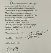 Signed/limited Fred Meyer F. Scott Fitzgerald Tender In The Night Lec 1982