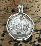 Pirate Coin Treasure Piece Of Eight Handstruck Authentic 1r Set Sterling Pendant