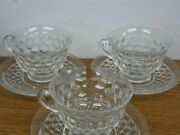Set Of 3 Vtg Fostoria American Tea Cup And Saucer Clear Cube Flared Coffee Punch