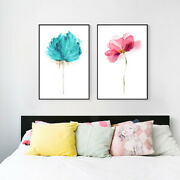 Wall Decor Poster And Print Color Water Flower 2 Pieces Canvas Home Decorating