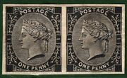 Gb Qv Proof Stamp Tender Essays 1d Black Imperand039 Pair 1879 Perkins Bacon Red2